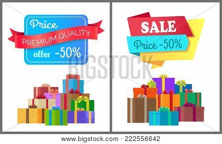 Premium quality price offer special exclusive sale posters piles of gift boxes wrapped in decorative color paper, vector illustration banners half cost