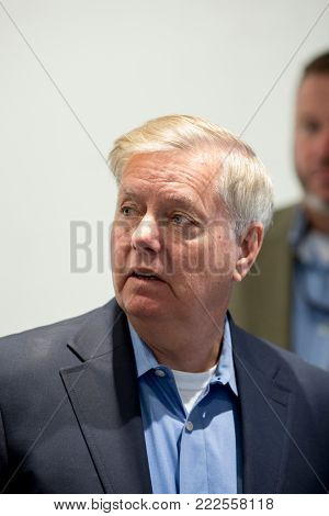 RIDGELAND, SOUTH CAROLINA:NOVEMBER 13, 2017: Closeup portrait of US Senator Lindsay Graham as he visits local businesses in Jasper County, South Carolina.