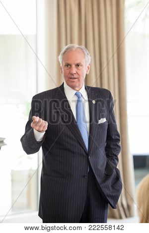 HILTON HEAD, SOUTH CAROLINA-SEPTEMBER 21, 2017: Governor Henry McMasters speaks in Hilton Head at a meeting of the South Carolina Hospital Association.