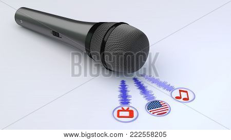 Black Microphone Emitting Blue Soundwaves Leading To A Tv Note And An American Flag Symbol Voice Ove