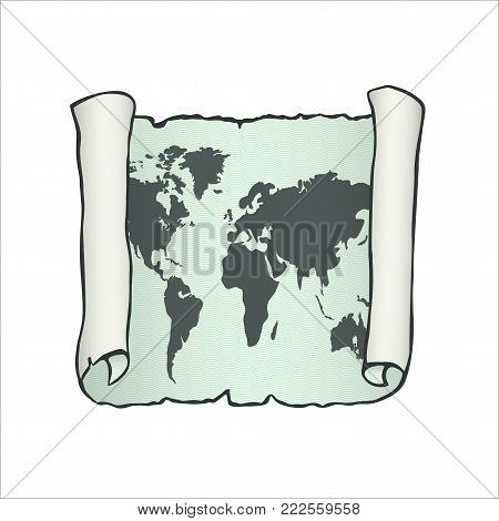 Sketch of ancient scroll. Sheet of parchment paper with world map on aquamarine background. Old papyrus paper.  Hand drawn vector illustration. Isolated on white backdrop. Square location.
