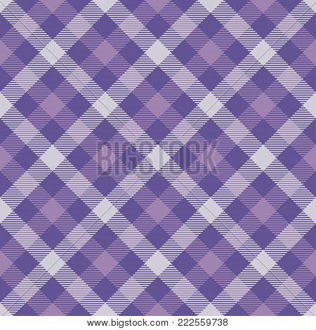 Ultra Violet Tartan Seamless Pattern Background. Violet Light and Dark Color  Plaid.  Flannel Shirt Patterns. Trendy Tiles Vector Illustration for Wallpapers. Color of the Year 2018.