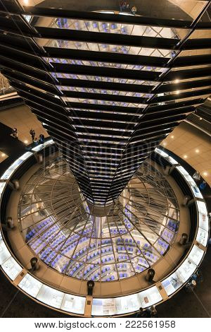 December 15. 2017 BERLIN: Inside the cupola of the Reichstag building in Berlin at night.