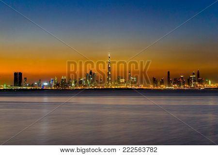 Beautiful view of the Dubai skyline at Dusk