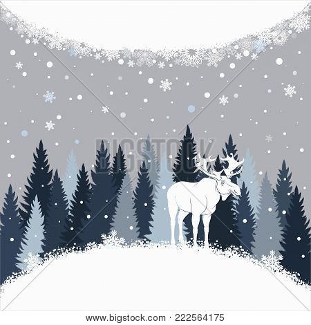 Card with moose on the forest background and snow. Winter vector background with place for inscription.