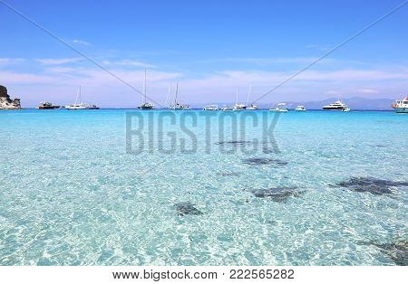 lanscape of Voutoumi beach Antipaxos - Ionian islands Greece