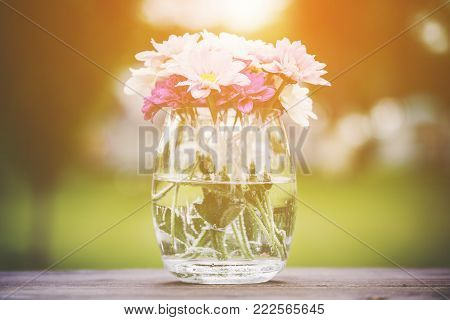 Decorative posy of fresh pink summer flowers in a glass vase on an outdoor wooden table viewed close up on the side with golden glow from the sun
