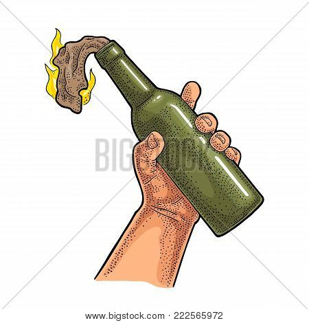 Male hand holding Molotov Cocktail. Glass bottle with gasoline and rag wick. Engraving vintage vector color illustration. Isolated on white background. Hand drawn design element for label and poster