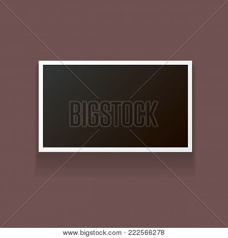 vintage photo frame with shadow isolated on brown background. Vector Photo realistic Mockups with empty space for photo. old photo icon