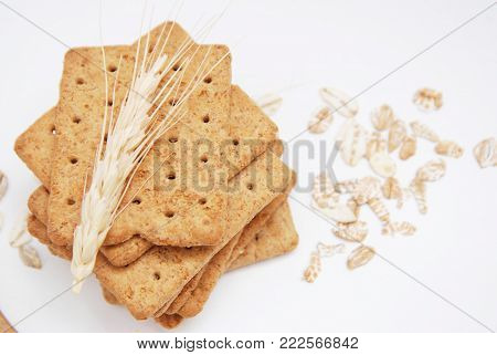 Dietary, Healthy and Low Caloric Grain Crackers Isolated.