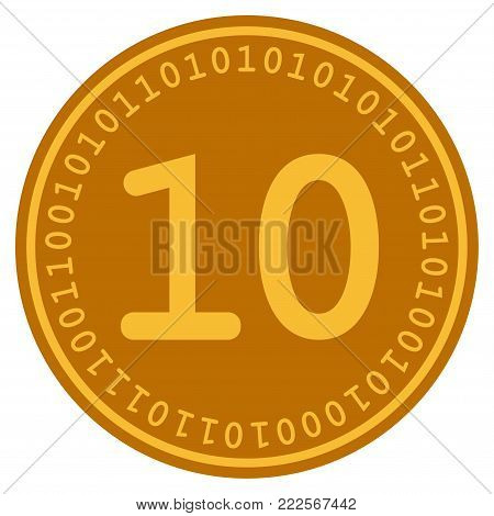 Ten Digital Coin vector icon. Style is flat graphic symbol.