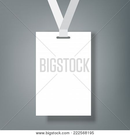 Blank realistic Identity Card Badge with ribbon mockup cover template.