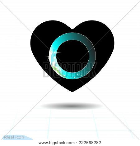 Heart icon. A symbol of love. Valentine s day with the sign of the Wait. Flat style for graphic and web design, logo. Frame shadow. Modern preloader on blue gradient background. Vector gif.