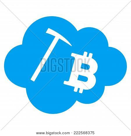 Bitcoin Cloud Mining vector icon. Style is flat graphic symbol.