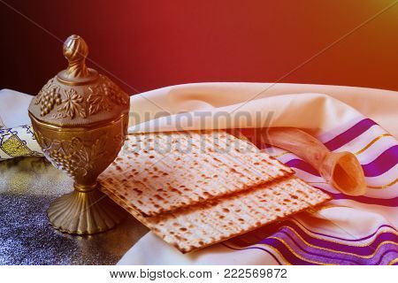 passover jewish matzoh bread holiday matzoth celebration traditional three pieces of Matzo got the Passover Seder