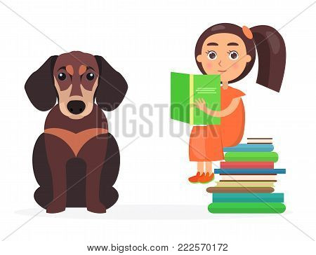 Pretty schoolgirl sits on pile of literature and holds green schoolbook, beside sitting brown dachshund vector illustration