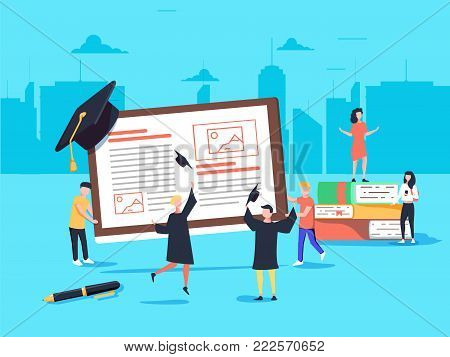 Flat design style web banner for online learning, education apps, books online training courses and tutorials.. Vector illustration concept for web design, marketing, and print material.