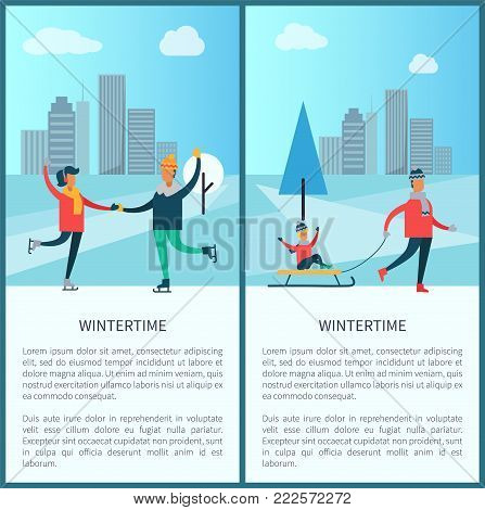 Wintertime banners, couple of skaters and family, father and kid sitting on sled, buildings and trees, text sample and titles vector illustration
