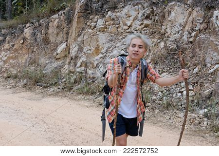 Traveler Hiker Man With Backpack Hiking On Mountain. Tourist Backpacker With Stick Trekking In Fores
