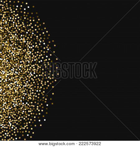 Red Gold Glitter. Scatter Pattern With Red Gold Glitter On Pink Background. Dazzling Vector Illustra