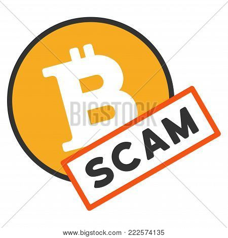 Bitcoin Scam vector icon. Style is flat graphic symbol.