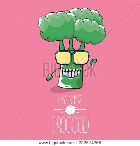 vector funny cartoon cute green smiling broccoli character isolated on pink background. My name is broccoli vector concept. vegetable funky character. vegan food