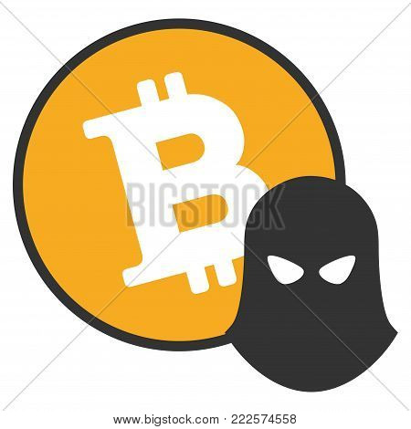 Bitcoin Spy vector icon. Style is flat graphic symbol.