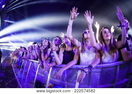 Cluj-Napoca, Romania - August 6, 2017:  Crowd having fun at Martin Garrix, a Dutch DJ, record producer and musician live concert at Untold Festival, the Best Major Music Festival of Europe