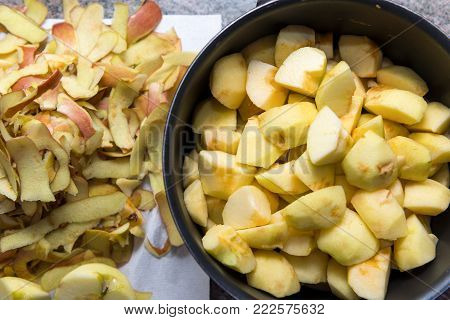 a preparation of applesauce in the kitchen