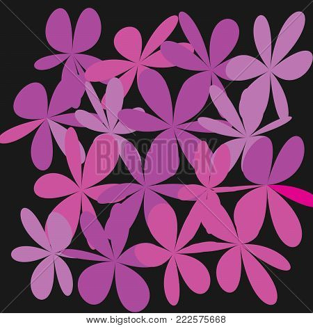 Whimsical Floral  Background, Pink Flower on Black, Exquisite Gentle Floral Graphic Ornament, Minimalistic Fashion Ornament, Flower bw