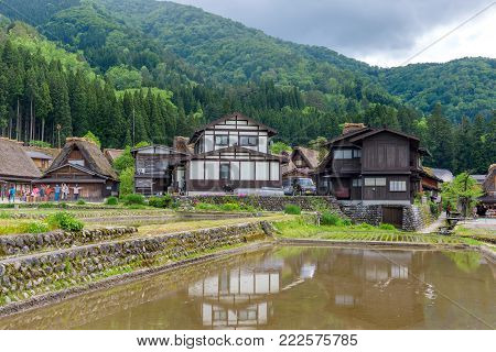 Gifu, Japan - May 16, 2016: View Of Shirakawago (shirakawa Village) World Heritage Village In Summer