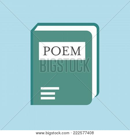 Poem book isolated on background. Vector stock.