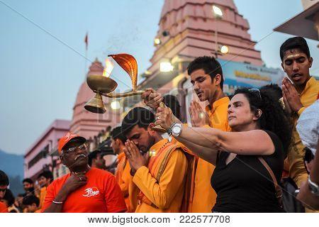 Rishikesh, India - March, 23, 2015. Ganga Aarti Ceremony In Parmarth Niketan Ashram At Sunset. Rishi