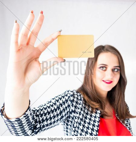 Sexy Business Girl With Credit Card In Bra Between Boobs, Fat Model In Jacket, Woman Plus Size Buyer