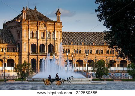 Seville, Andalusia, Spain - March 25, 2008: Plaza Of Spain In Seville