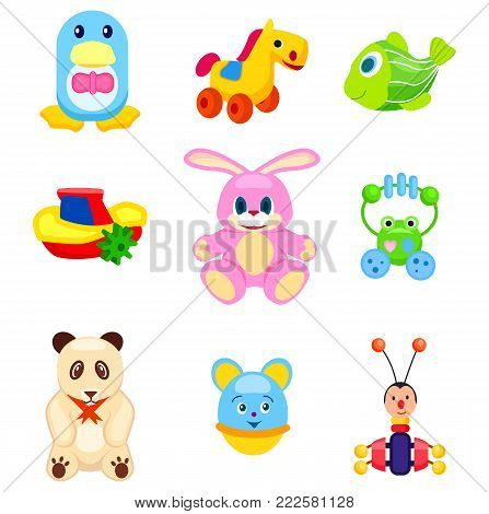 Penguin in tie, horse on wheels, green fish, small boat, pink bunny, frog beanbag, cute panda, round mouse and beetle xylophone vector illustrations.