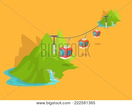 Maokong mountain cableway in Taiwan graphic icon on yellow background. Rapidly delivers tourists and locals to top of mountain. Three red caravans with viewing platform. Vector illustration art design