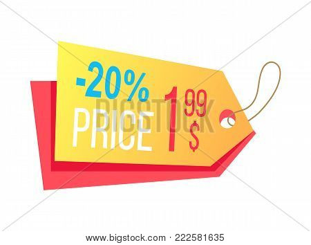Price label with info about discounts and final cost hanging arrow shape label shopping tag isolated on white background vector in flat style design