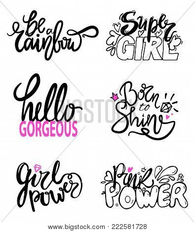 Girlish graffiti signs with fancy fonts decorated with doodles, hearts and diamonds. Vector illustration with six colorful slogans isolated on white