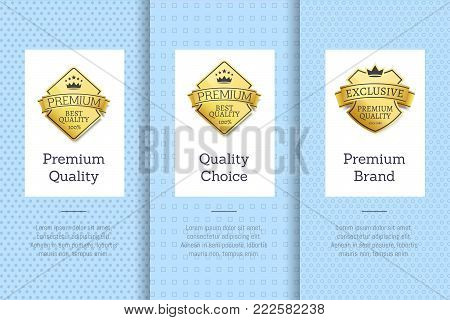 Premium brand quality choice best golden label guarantee sticker award, vector illustration certificate emblem with stars isolated on blue background set