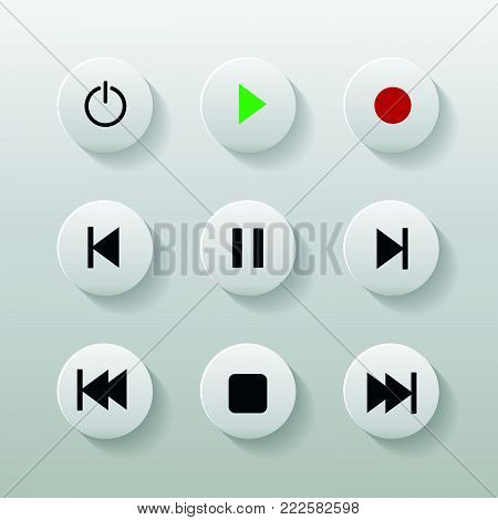 Symbol Icon Set Media Player Control White Round Buttons. Vector Illustrator