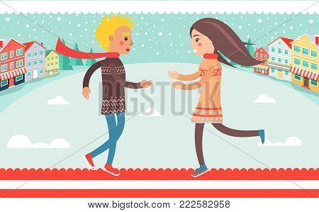 Happy couple boy and girl running to each other outdoors at wintertime at background of winter landscape, houses and road vector illustration