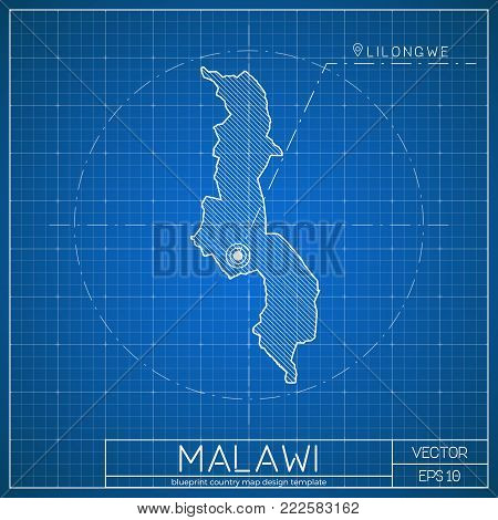 Togo Blueprint Map Template With Capital City. Lome Marked On Blueprint Togolese Map. Vector Illustr