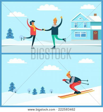Skating couple and buildings, trees covered with snow, and training skier, going down slope, set of posters, isolated on vector illustration