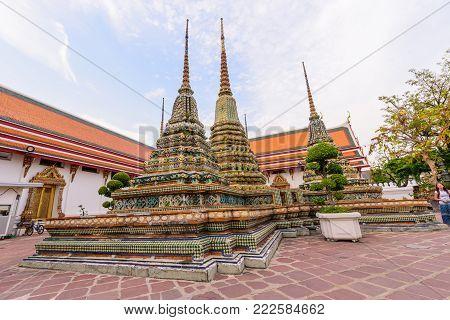 Bangkok , Thailand - 15 January, 2018: Big pagoda in Wat Phra Chettuphon Wimon Mangkhalaram Ratchaworamahawihan (Wat Pho) / Wat Pho public landmark of Bangkok