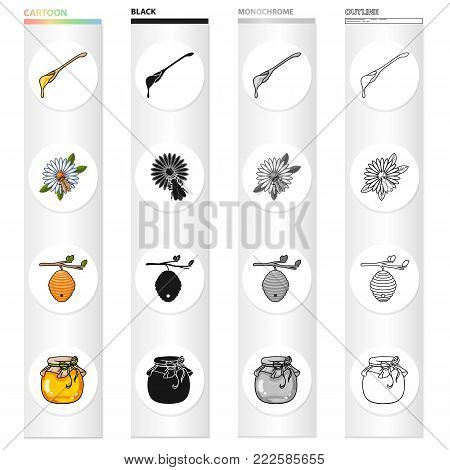 A spoon of honey, an apiary, a bee on a flower, a beehive of wild bees, a honey bank. Apiary set collection icons in cartoon black monochrome outline style vector symbol stock illustration .