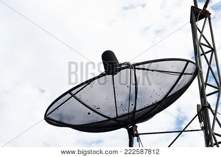 Dirty Satellite Plate With White Clouds Background