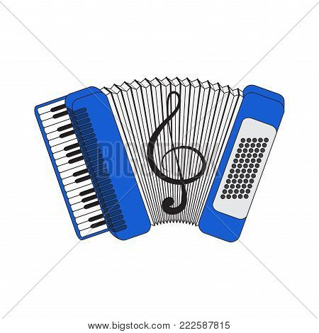 Accordion, vector illustration, isolated with a picture of a violin key.Vector EPS10