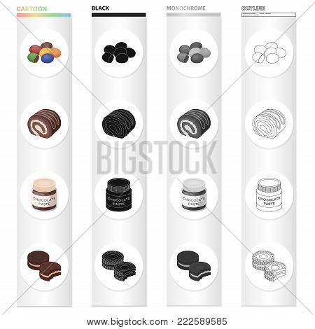 Dessert dragee, chocolate roll, chocolate pasta, puff pastry. Dessert set collection icons in cartoon black monochrome outline style vector symbol stock illustration .