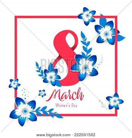 8 March. Bright flyer for March 8 with the decor of paper cut flowers. Women's Day. Trendy Design Template. Vector illustration